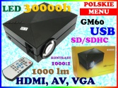 GM60 PROJEKTOR RZUTNIK LED 30000h HDMI USB 1000lm POLSKIE MENU