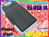 Ładowarka SOLARNA POWER BANK 5000mAh 2xUSB iPhone